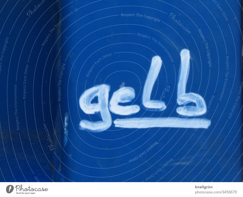 """The word """"yellow"""" underlined in white on a blue background Graffiti Communicate Colour Characters Word Letters (alphabet) Yellow White Blue Typography letter"""