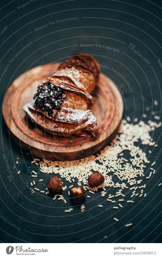 Delicious pastry on dark background/ background Dessert Eating biscuits Baked goods Food Sweet Cooking Tasty Colour photo Close-up Gourmet Fresh Snack Baking