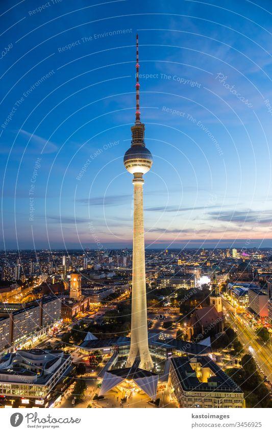 Panoramic view of Berlin, Germany. berlin alexanderplatz mitte tower panorama germany city blue europe urban travel tourist background capitol tv tower retro