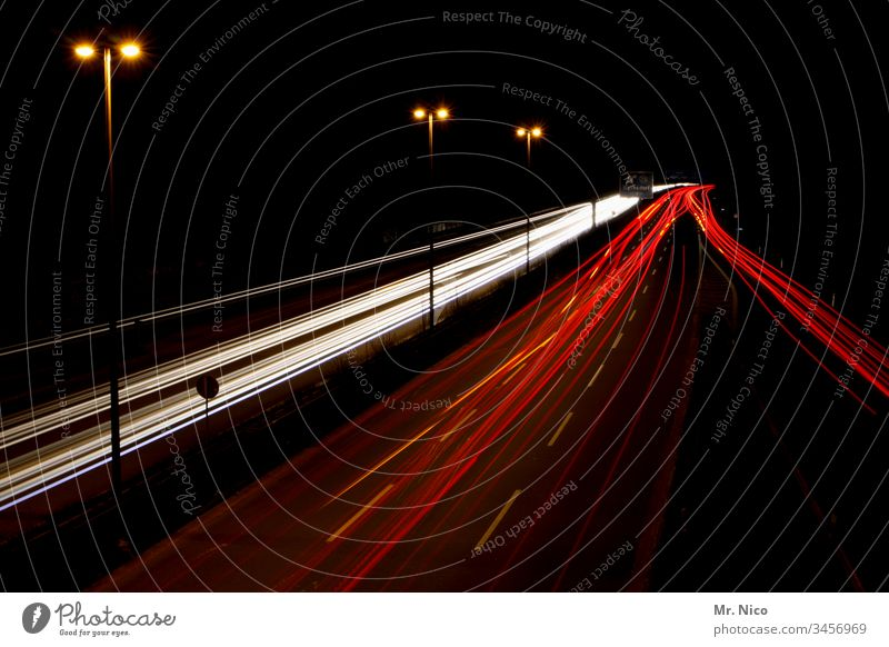 motorway at night Highway Long exposure Speed Transport Night Street Traffic infrastructure Oncoming traffic Mobility Night journey Movement Tracer path