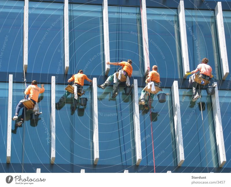At the silk thread Window cleaner High-rise Cleaning Group Tall