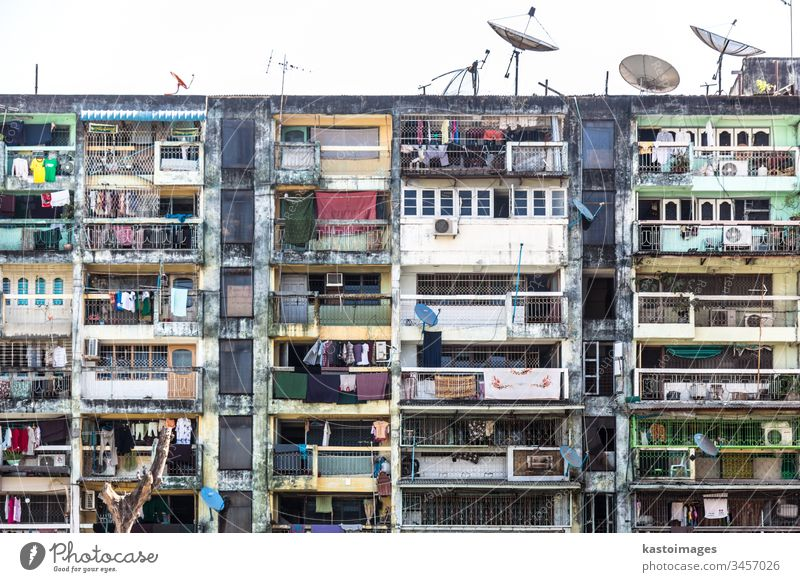 Block of flats in Yangon, Burma. block of flats Town house (City: Block of flats) House (Residential Structure) Window Living or residing Downtown