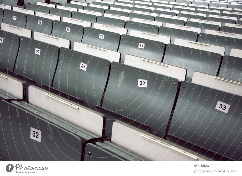 Empty rows of seats Row of seats folding seat Digits and numbers Lecture hall Event Audimax Auditorium Seating Places Audience Stands Seminar university School