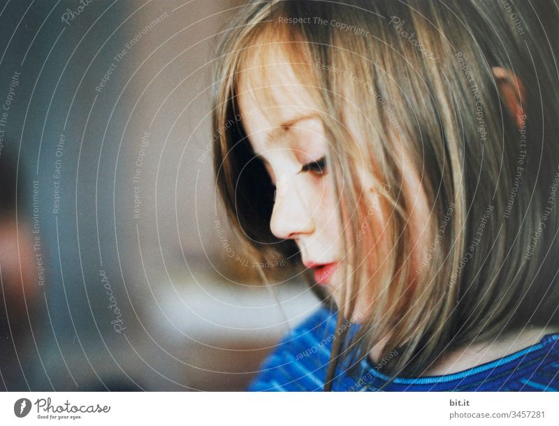The ear peeked pertly out of her hair girl Child Side Half-profile Infancy 1 Human being portrait Face Head fantasy world Fantasy pretty Childhood memory Dream