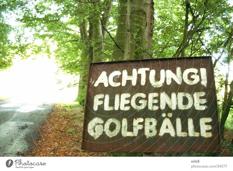 Flying golf balls Forest Dangerous Sports Golf Ball danger sign Respect Caution Threat Signage Exceptional