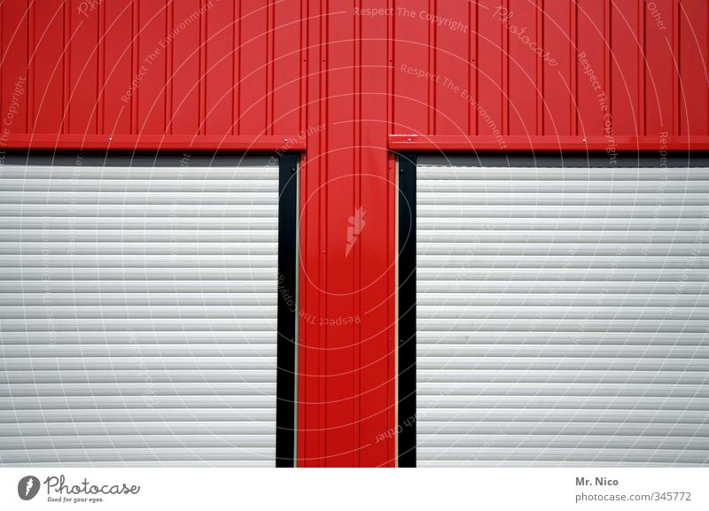 t - home Industrial plant Building Facade Window Living or residing Red Window frame Roller blind Roller shutter Closed Corrugated iron wall office container T