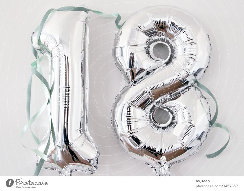 18th birthday Youth (Young adults) Balloon Silver Packing film Birthday Paper streamer Feasts & Celebrations Party Colour photo Happiness Interior shot