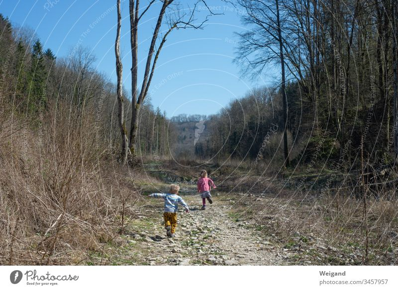 Children romping in the forest Forest off Infancy children Trip holidays Autumn Family hike Discover vacation Tension Running off the beaten track Summer Valley
