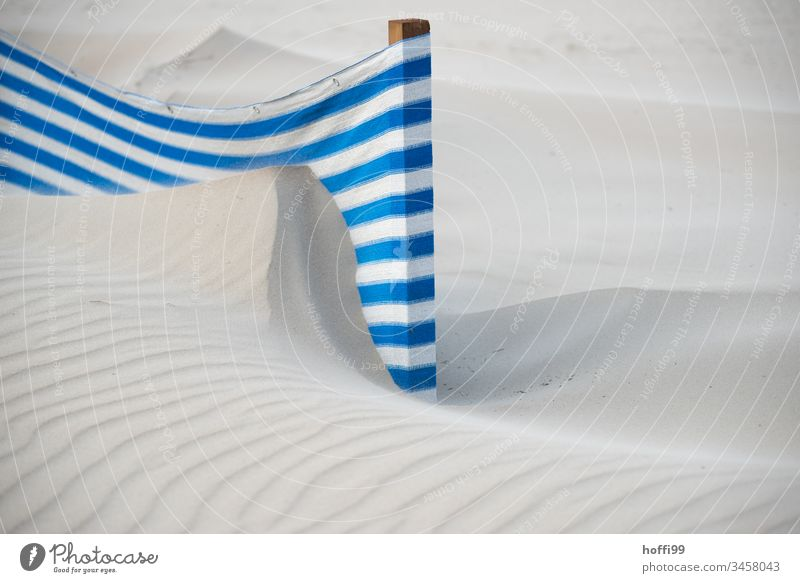 Windbreak on a windy sandy beach with dunes Abstract Wind deflector Striped Towel Lanes & trails Protection Sunshade Relaxation Sunbeam Beach Summer Sandy beach