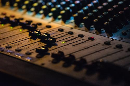 Mixing console in use mixer Concert electronic music plant engineering Sound system Controller Technology Slide control Disc jockey Producer tool Close-up