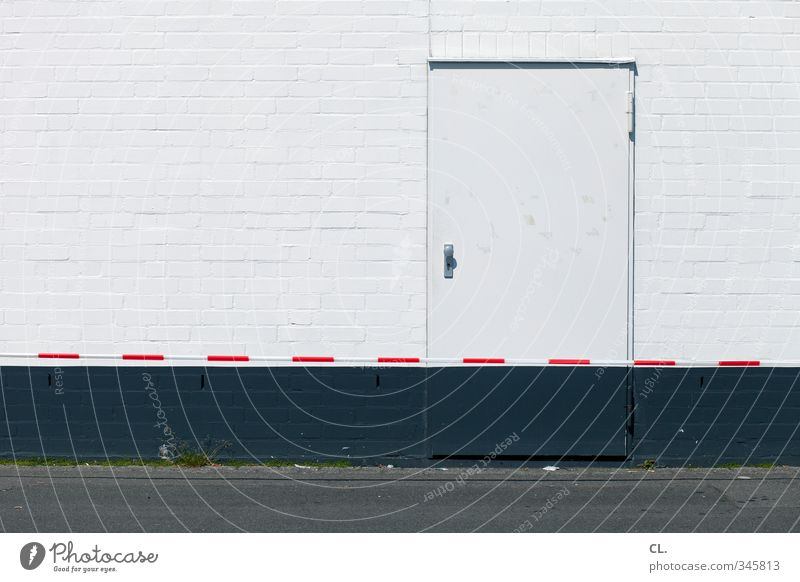 City House (Residential Structure) Wall (building) Street Wall (barrier) Gray Facade Door Closed Gloomy Safety Construction site Protection Factory Border