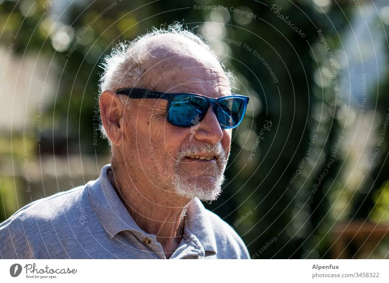 old | and grey in places Senior citizen Old man Male senior Grandfather Human being Masculine Exterior shot portrait Shallow depth of field 60 years and older