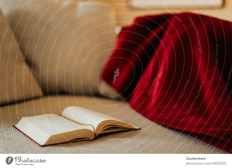 Book lies on a comfortable couch with red blanket Stayhome Reading Struck Blanket Beige Red Cozy Relaxation stay at home Rest Safety (feeling of) Retreat