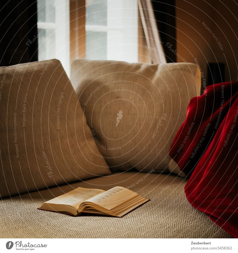 Cosy sofa with pillow, red blanket and book, in the background window with rungs, as a reading place at home Stayhome Sofa Cushion Book Reading Cozy Window