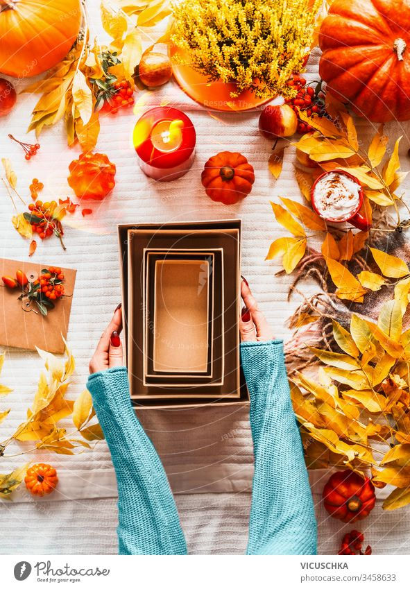 Female hands in blue sweater holding empty eco friendly craft paper boxes on desk with various pumpkins, fall leaves , candles and cappuccino in red mug on white blanket background. Top view. Flat lay