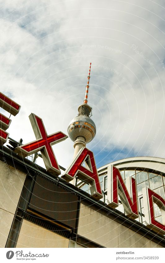 Railway station Berlin-Alexanderplatz alex Architecture on the outside city Television tower spring Spring Capital city House (Residential Structure) downtown