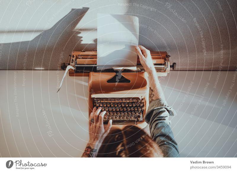 typewriter tattoo hands retro typing