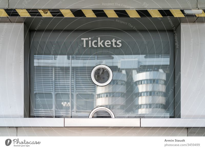 closed ticket office of the ICC Berlin Admission Blue cabin Box box office Business Shopping test Closed Counter Credit Crooked Europe Event Exterior game