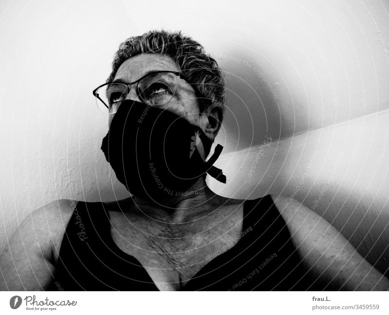 Not only that the picture editor had messed her up pretty badly, somehow it smelled funny under the breathing mask. Woman Respirator mask Braille Old wrinkled