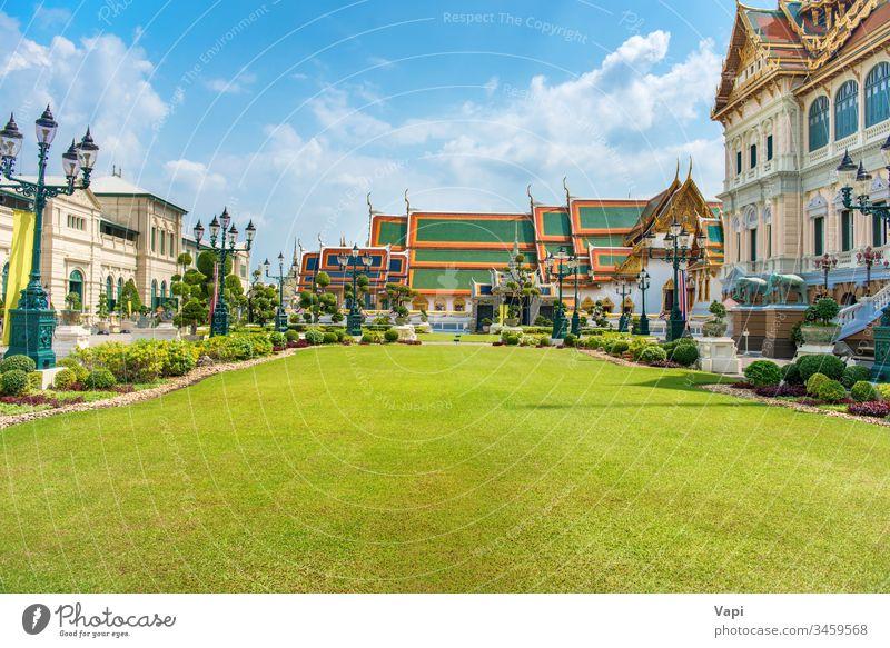 Grand Palace complex in Bangkok thailand palace bangkok grand architecture asia throne hall landmark prasat maha lawn ancient traditional buddhism religion