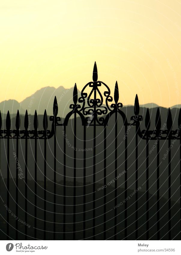 Sky Black Far-off places Mountain Moody Europe Romance Vantage point Spain Fence Handrail Dusk Andalucia Classic Ambience Ronda