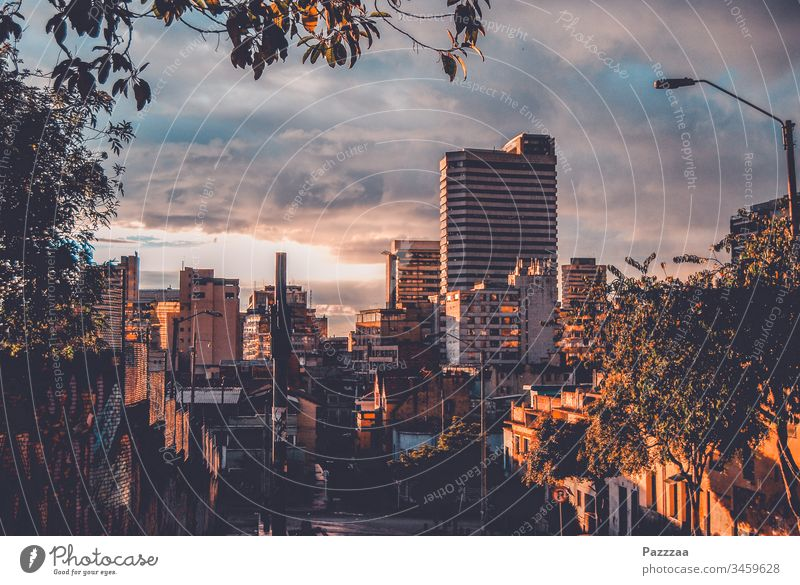 Bogota in the evening Colombia Skyline City evening sky High-rise urban Evening