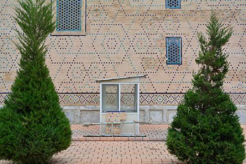 Uzbek cash box Uzbekistan Samarkand Registan gatekeepers Kiosk Mosaic Structures and shapes little trees tidied Arrangement ticket counter