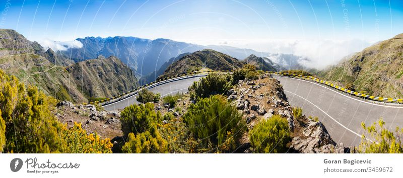 Mountain road on Madeira Island, Portugal mountain madeira travel landscape summer traffic transport hill portugal scenery trip europe island outdoor clouds