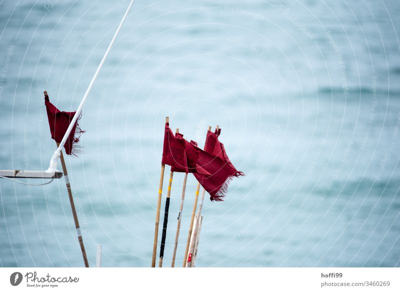 red flags in the wind on fishing boat Red Flag Flagpole Maritime Wild Fishing boat windy Wind Ocean at sea Blow Sky Judder Blue Summer