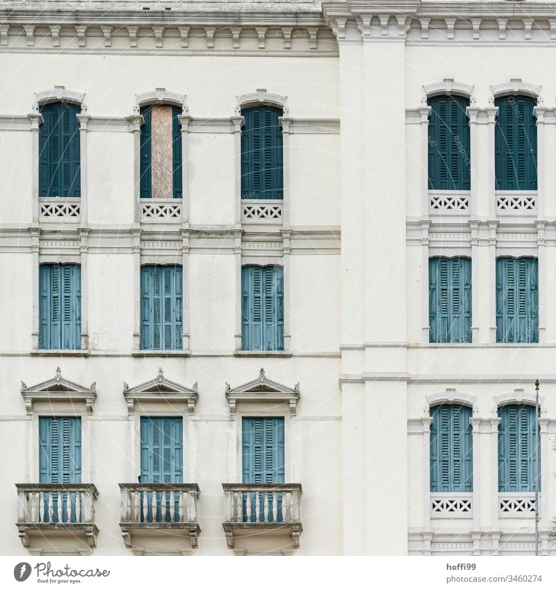 Historical facade of the Belle Époque Belle Epoque Architecture Facade Venetian blinds shutters Old town old town house Shutter Building Balcony Window