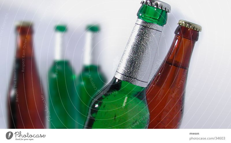Green Brown Closed Beer Bottle Alcoholic drinks Full Bottle of beer Stained glass