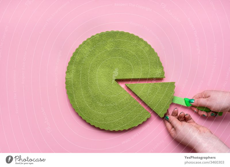 Matcha cheesecake flat lay. Woman hands taking cake slice above view cheesecake tart colorful confectionery creamy delicious dessert food green green cheesecake