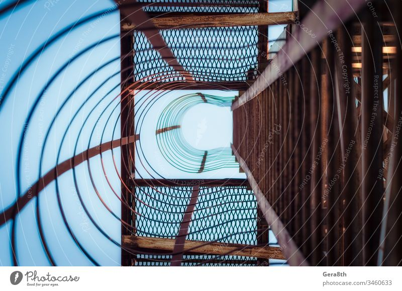 metal construction with stairs steps in perspective view abstract abstraction architecture background bends blue curves geometry grunge industrial industry iron