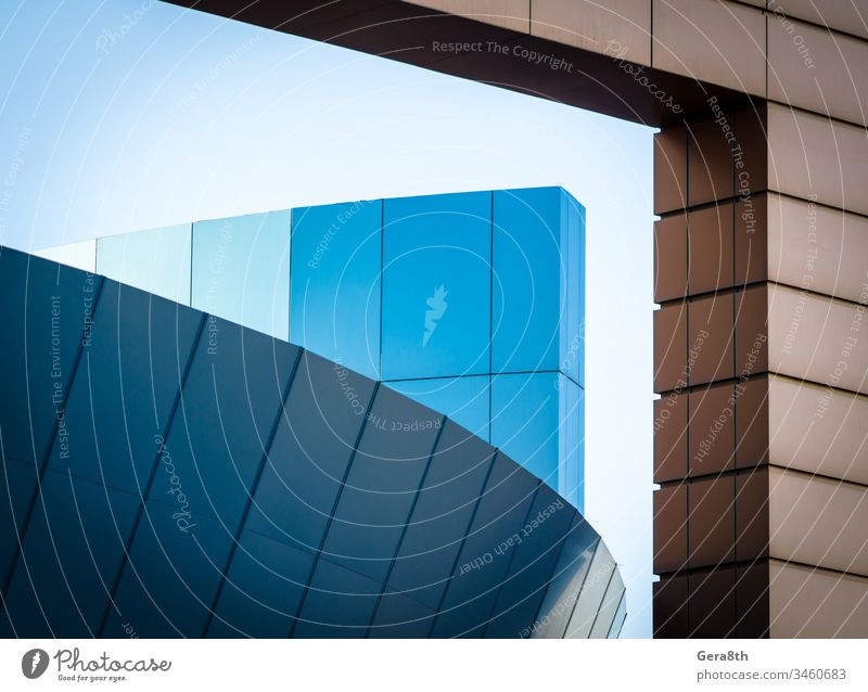 fragment of an office building with blue and yellow panels abstraction architectural abstraction architectural design architecture blocks building design
