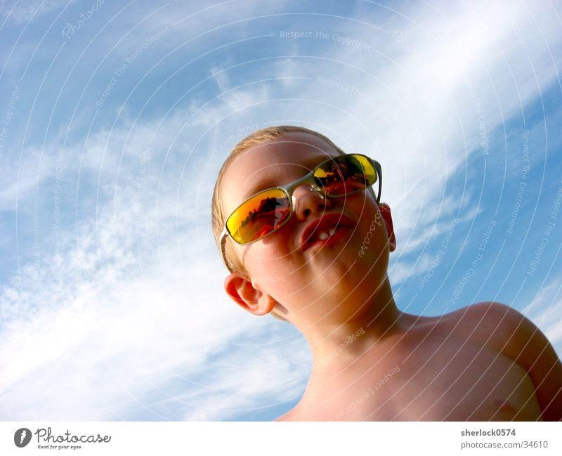 Child Sky Clouds Colour Teeth Sunglasses