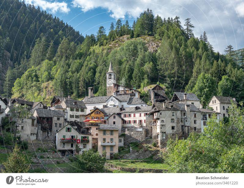 A village in the Val verzasca in Ticino, Switzerland Canton Tessin Exterior shot Colour photo Lavertezzo Nature Deserted Landscape Alps Europe River bank