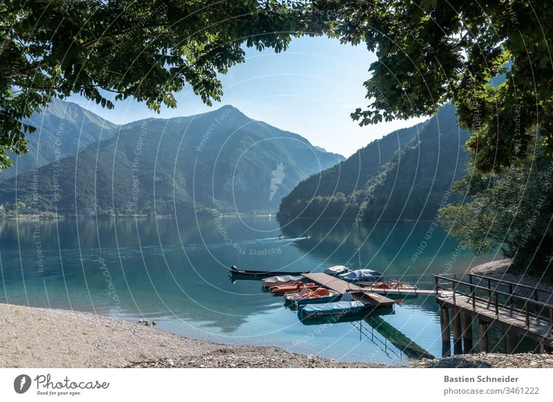 Lake Ledro, Lago di Ledro in South Tyrol, Italy northern italy boat hire Body of water Dusk Grief Apocalyptic sentiment Infinity Lakeside Water Jetty Footbridge