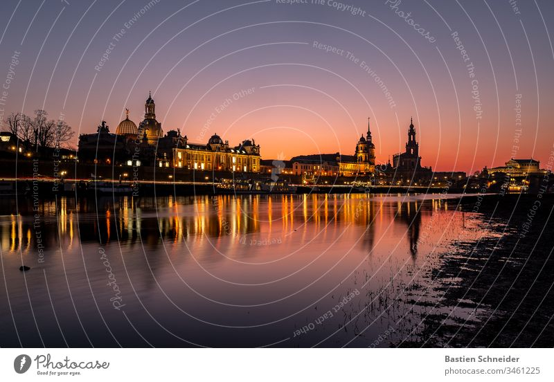 Skyline of Dresden's old town at sunset Esthetic Detail Semper Opera Contentment Art Silhouette Dome Church Dark Monument Manmade structures Historic Castle