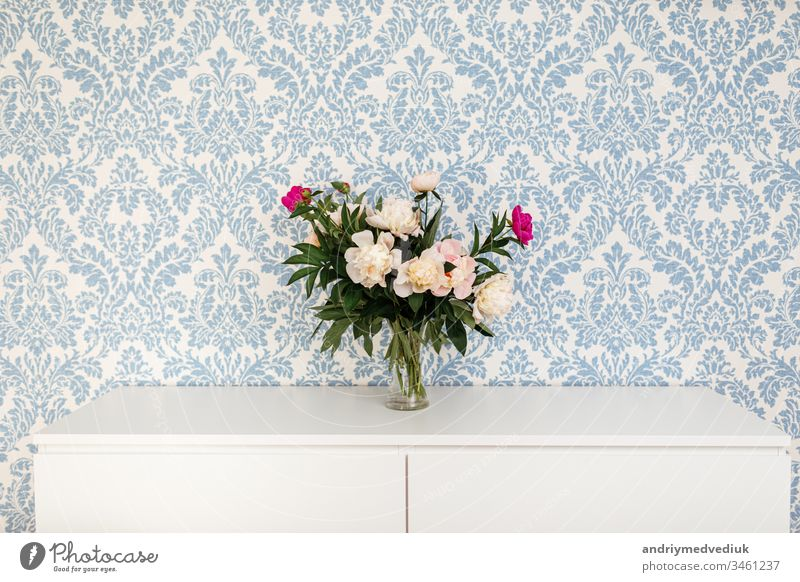 Peonies Fresh Cut Flowers in vase with copy space on white table on blue background peony pink flower plant bloom decor texture nature romantic bouquet glass