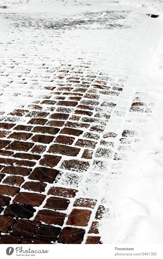 There was a way... Snow Winter Lanes & trails chill Tracks Exterior shot Frost Deserted Paving stone Brown White