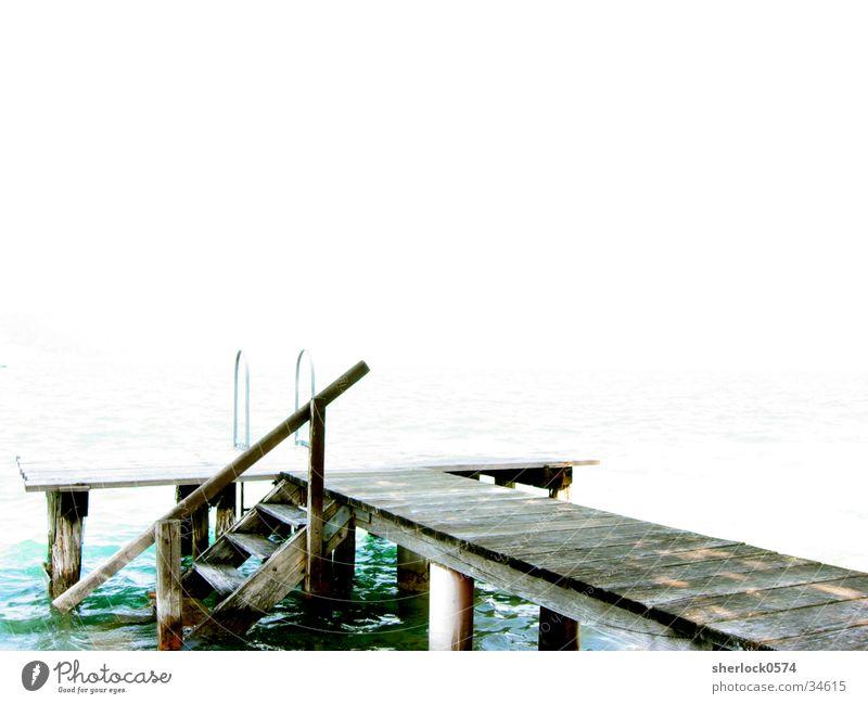 Water Calm Far-off places Wood Lake Graffiti Bright Footbridge Handrail Austria