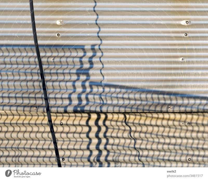 undulated wellasbest Hut Wall (building) Facade Fence Grating lattice fence Shadow shadow cast Waves crimped Cable Structures and shapes Detail Building