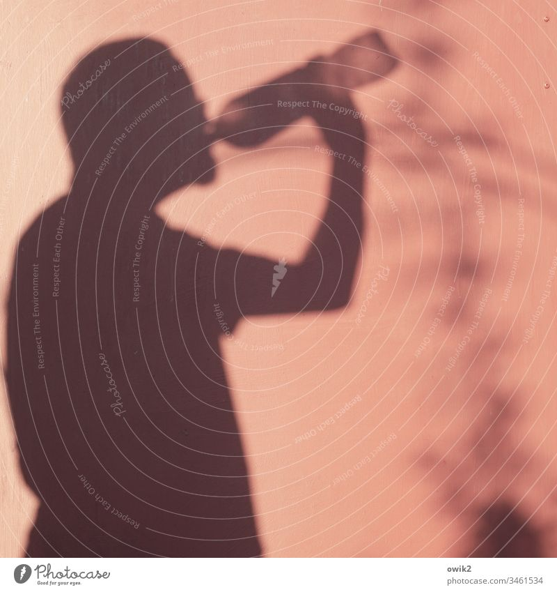 Suffocop Shadow Human being Self-portrait Thirsty Drinking Bottle Water Summer Hot Wall (building) Wood Colour reddishly Silhouette arm Head Refreshment