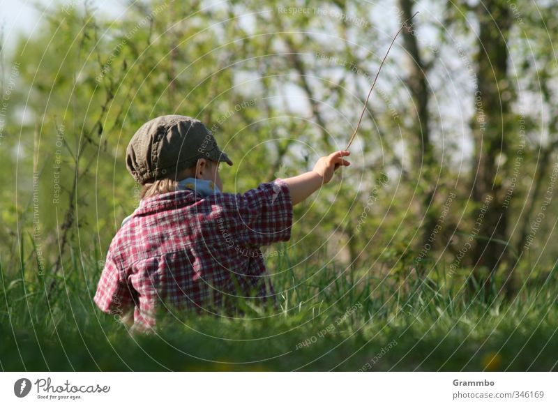 there! Human being Masculine Child Toddler Boy (child) 1 1 - 3 years Nature Tree Grass Meadow Sit Cute Indicate Colour photo Copy Space right Copy Space bottom