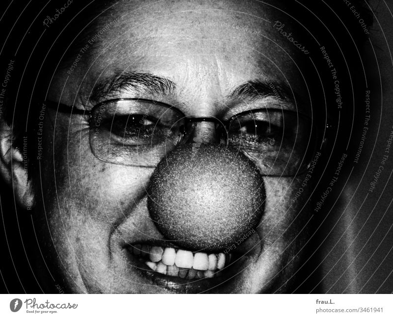 The mature lady with the clown's nose laughed somewhat tortured and found herself neither beautiful nor sweet, let alone cute. Woman Portrait photograph