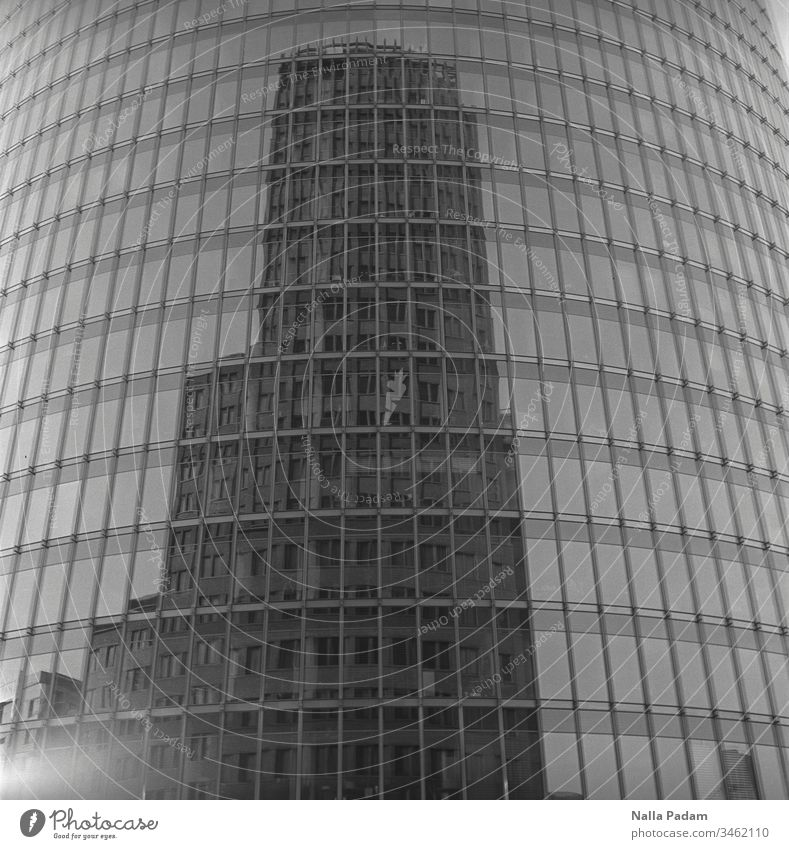 Reflection of a high-rise building in another one and that in the middle of Berlin reflection Kollhofftower DB Tower High-rise High-rise facade Tall