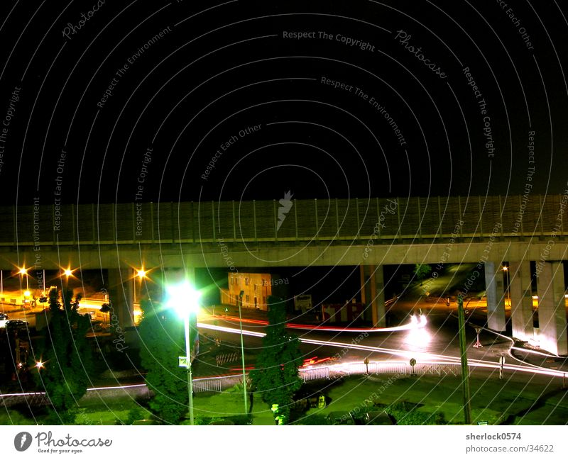 city lights Night Rear light Tree Lamp Long exposure Car Spoon bait Bridge