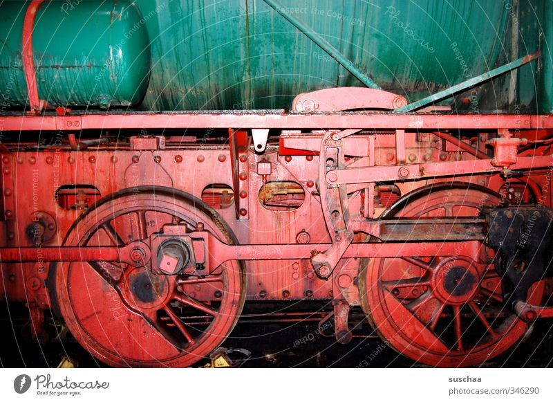 timemachine Technology Logistics Rail transport Railroad Engines Rail vehicle Metal Green Red Movement rail Hard Heavy Containers and vessels Colour photo