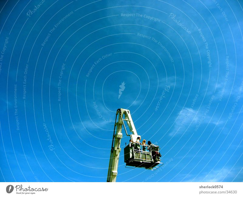 High in the sky Crane Electrical equipment Technology Sky Fire department Human being Vantage point Beautiful weather Level