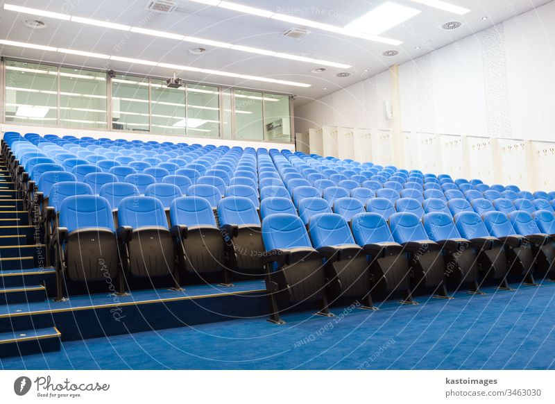 Empty conference hall. lecture hall architecture business projector auditorium classroom presentation seat row nobody chair empty education indoors university